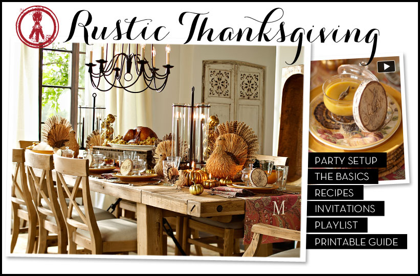 thanksgivinf-tablescapes. Rustic wood table and chairs, with turkeys and candles for decor