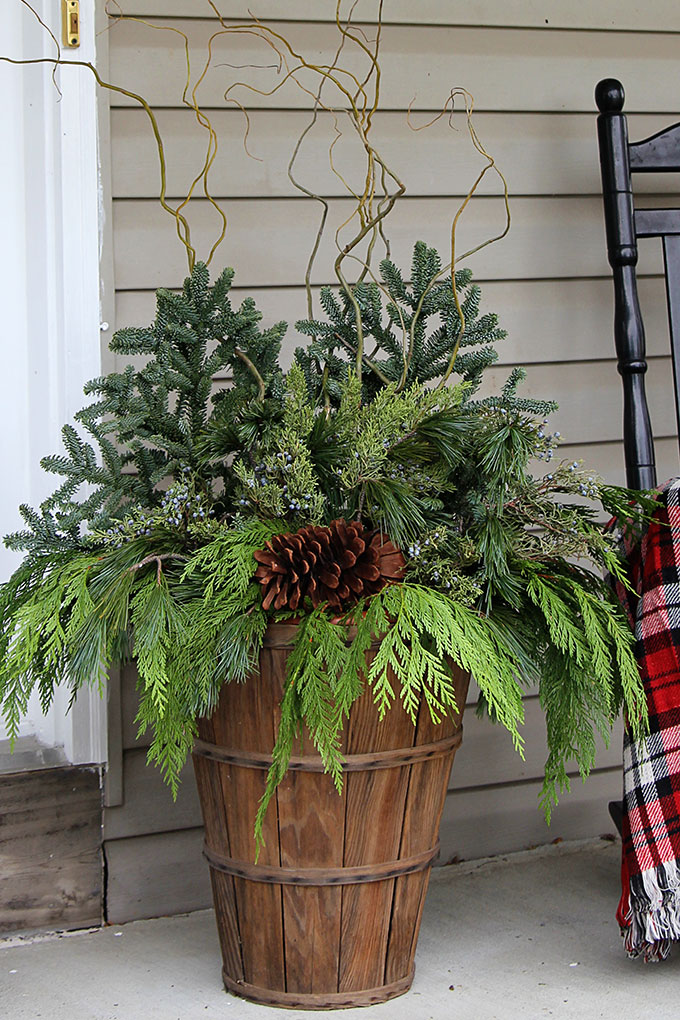Winter Porch Pots Tutorial
