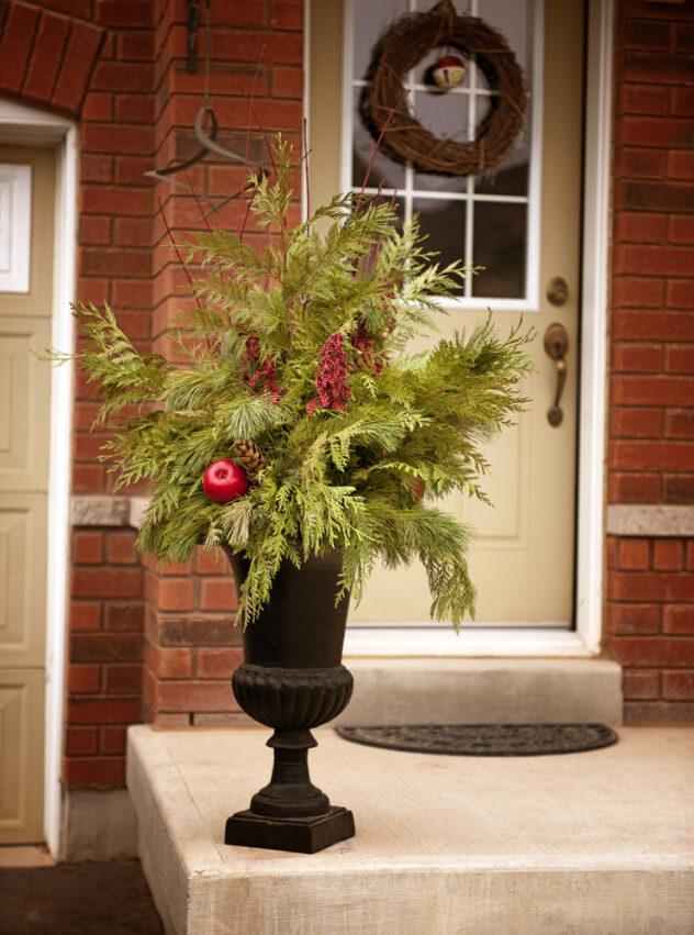 Christmas porch planter