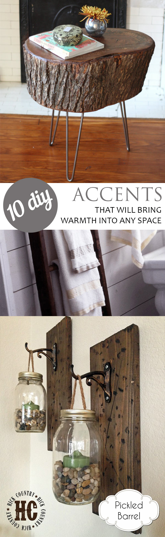 Rustic Accents, Rustic Accents for the Home, DIY Projects, Rustic DIY Projects, Rustic Home, Rustic Home Hacks, DIY Home Decor, Easy DIY Home Decor, DIY Home Decor Tutorials, Easy Rustic DIYs, Popular Pin