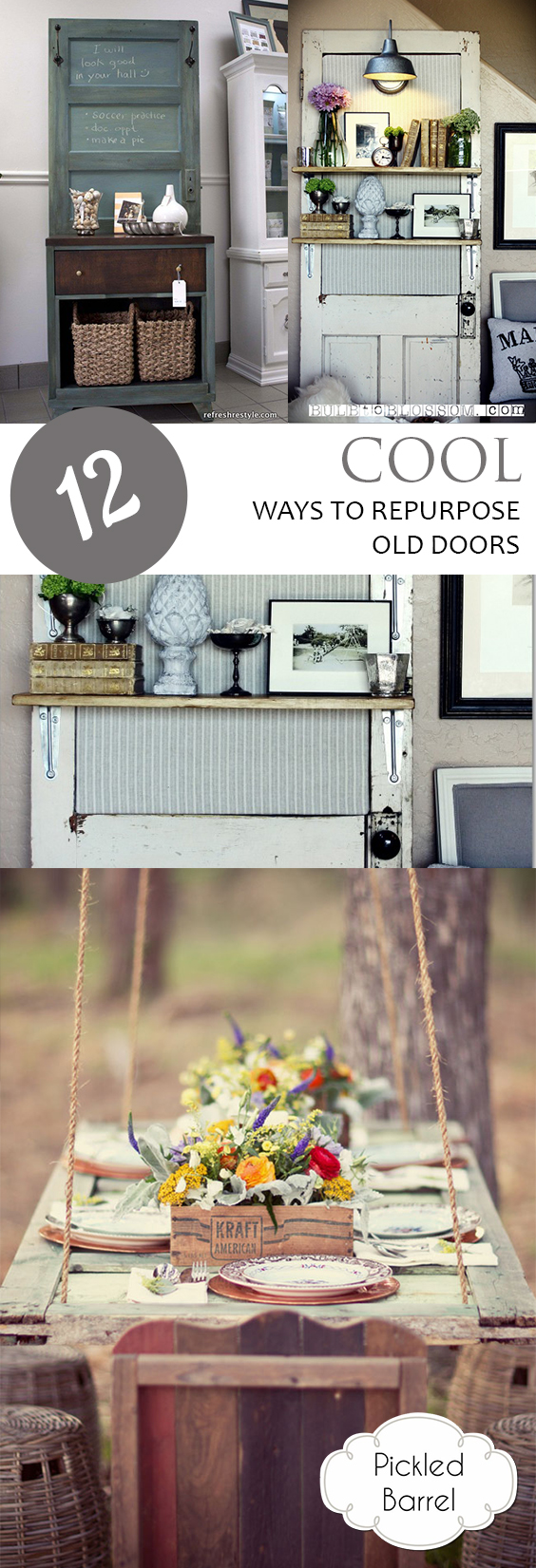How to Reuse Old Doors, How to Repurpose Old Doors, Things to Do With Old Doors, Repurpose Projects, Easy Repurpose Projects, DIY Home Decor, DIY Home Decor Projects, Easy Projects for the Home, Popular Pin