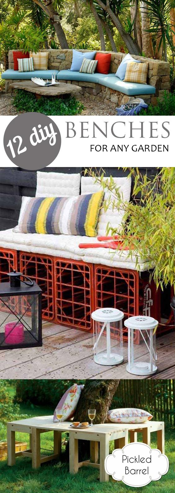 12 DIY Benches for Any Garden| Garden, DIY Garden Benches, Garden Bench Projects, Make your Own Garden Bench, Fast and Easy Ways to Make Your Own Garden Bench, Gardening, Outdoor Projects.