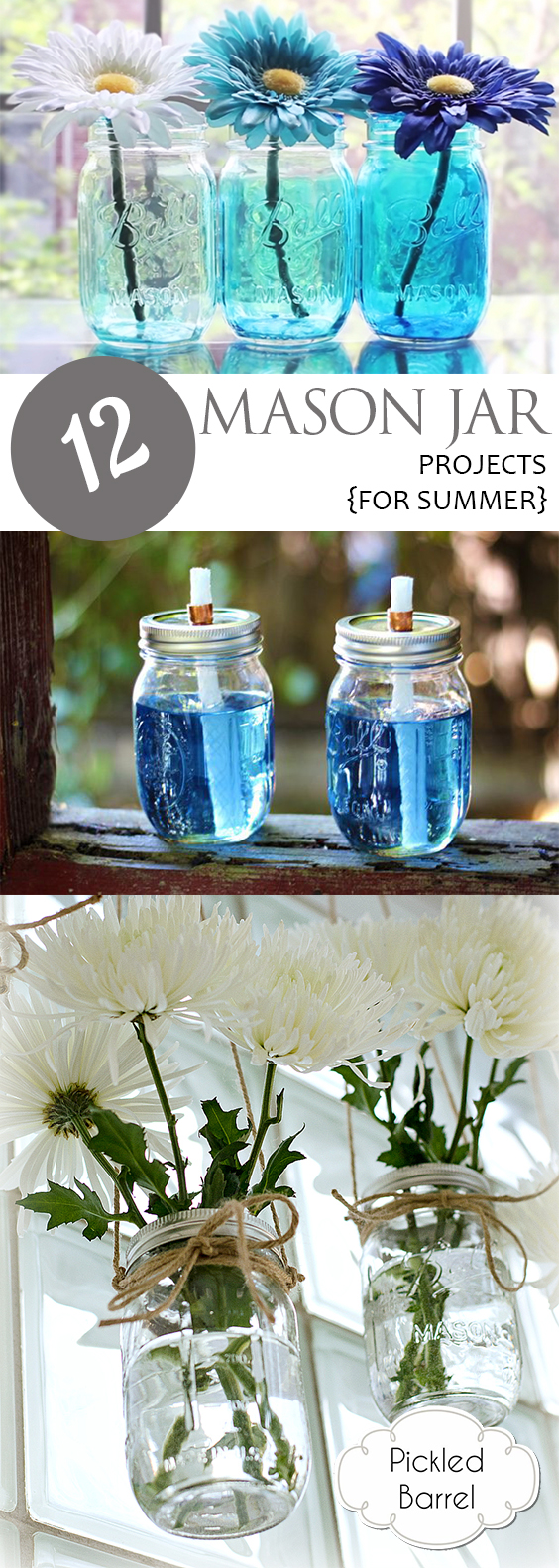 12 Mason Jar Projects {For Summer}| Mason Jar Craft Projects, Craft Projects for Summer, Mason Jar Projects, Mason Jar DIY Projects, DIY Projects for Summer, Mason Jar Crafts, Popular Pin