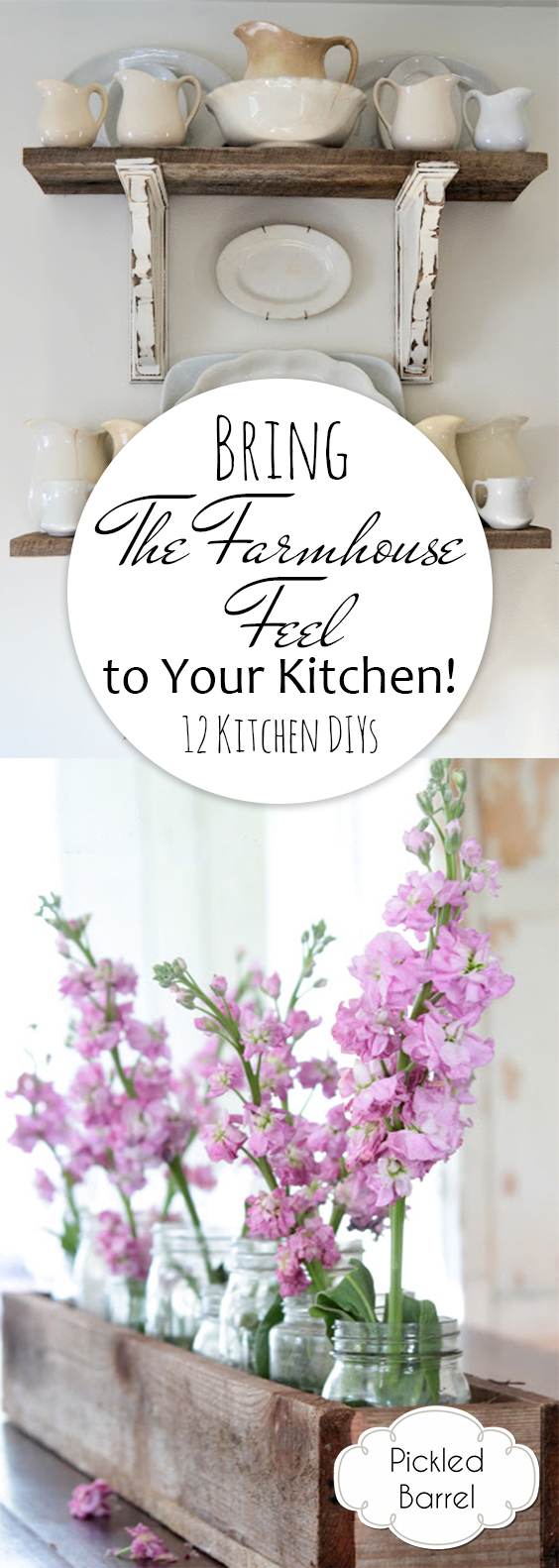 Bring a Farmhouse Feel to Your Kitchen! {12 Kitchen DIYs} Farmhouse Kitchen, Farmhouse Kitchen DIY, Kitchen DIY Projects, DIY Projects for the Kitchen, Farmhouse Decor for the Kitchen, Kitchen Farmhouse Decor, DIY Home Decor, DIY Kitchen Decor, Popular Pin