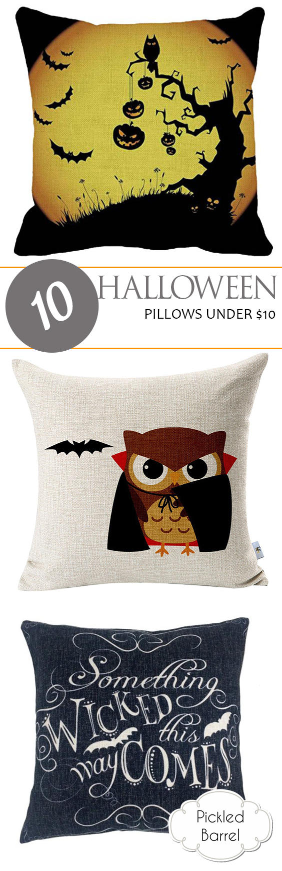 10 Halloween Pillows Under $10| Halloween Pillows, DIY Pillows for Halloween, Cheap Halloween Decor, DIY Halloween Decor, Halloween Home Decor, Inexpensive Pillows, Pillow Cover Projects, Popular Pin