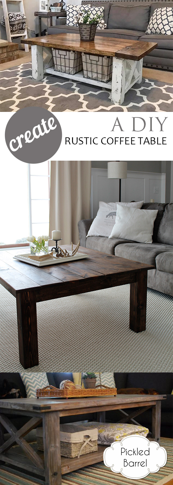 Create A Diy Rustic Coffee Table Tutorials