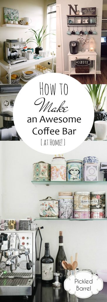 How to Make an Awesome Coffee Bar {at Home!}| DIY Coffee Bar, Coffee Bar Projects, Coffee Bar Projects for the Home, Home Decor, Home Decor and Design #CoffeeBar #DIYCoffeeBar #HomeDecor #DIYHome DIY Coffee Bar Ideas