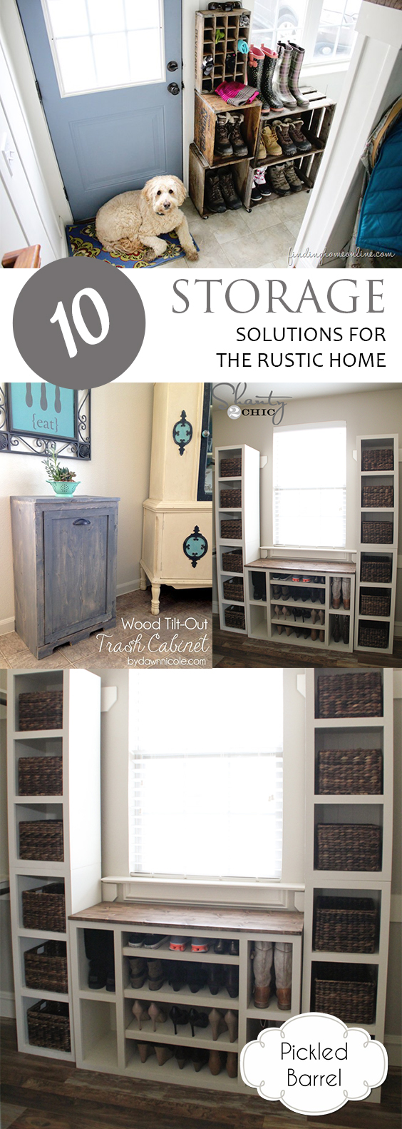 10 Storage Solutions for the Rustic Home| Storage Solutions, DIY Storage Solutions, Rustic Storage Solutions, Storage, Storage Hacks, Rustic Home, Rustic Home Hacks, Popular Pin #RusticHome #Storage