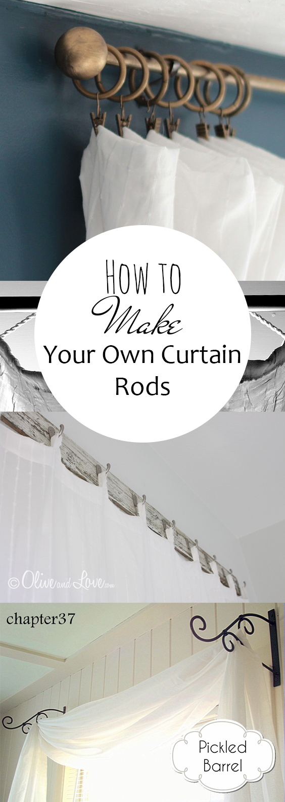 How to Make Your Own Curtain Rods| DIY Curtains, Curtain Rods, DIY Home, DIY Home Decor, Curtains, DIY Curtain, DIY Home Stuff, Curtain Rod Projects #CurtainRods #DIY