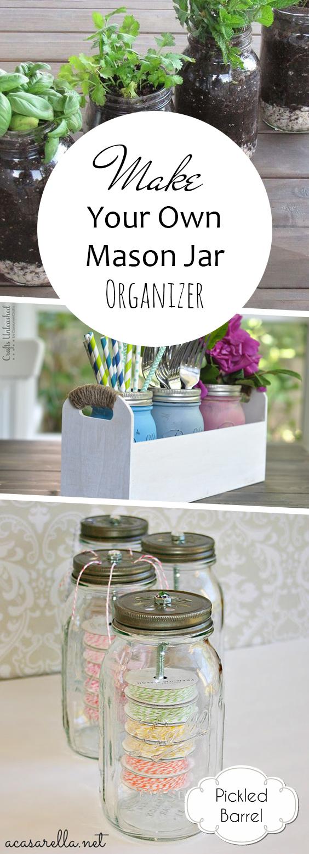 Make Your Own Mason Jar Organizer| Mason Jar Crafts, Mason Jar Ideas, Mason Jar Craft Ideas, Organizer DIY, Organizer Ideas #MasonJarCrafts #OrganizerDIY #MasonJarDIY #OrganizerIdeas