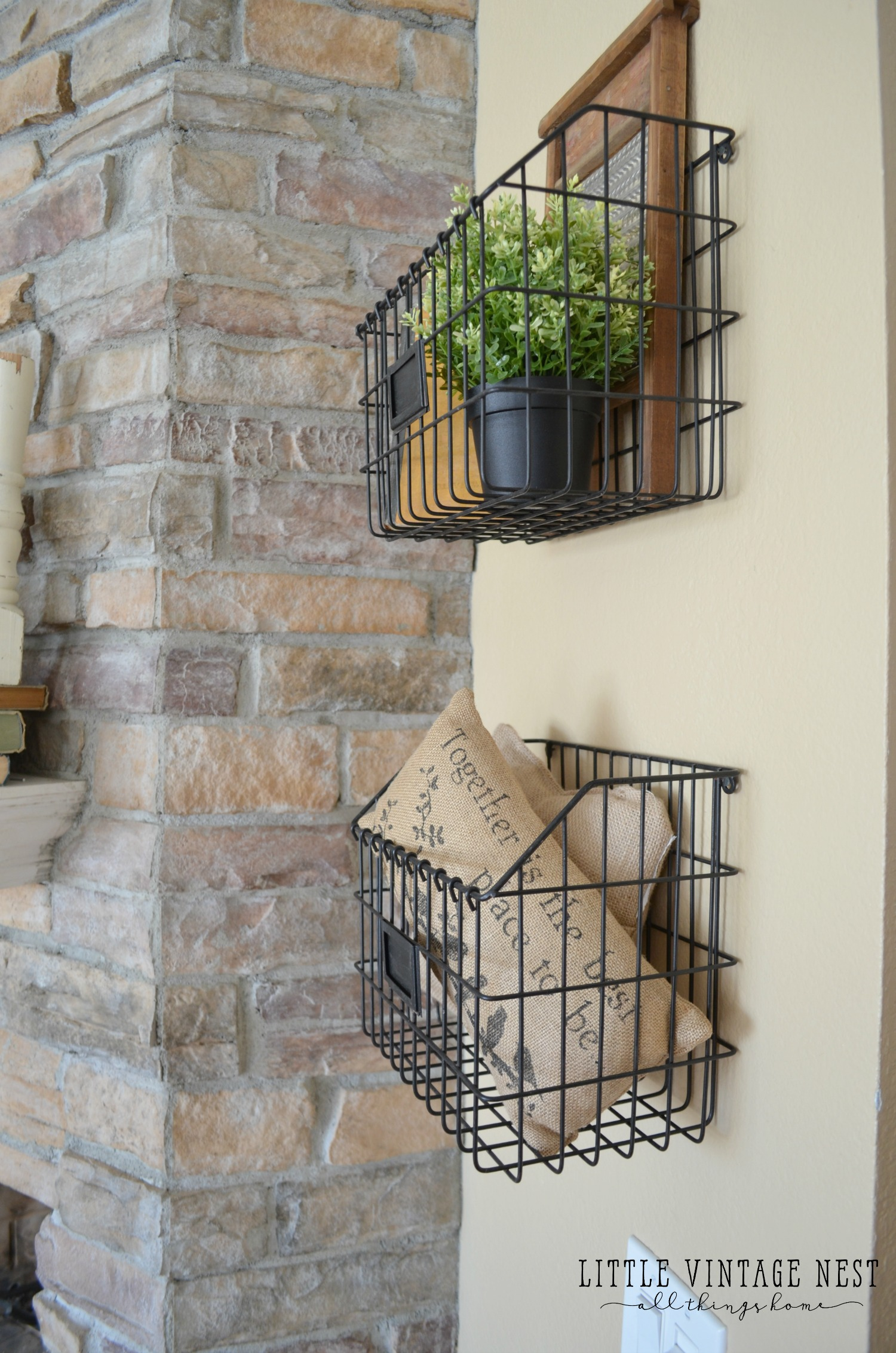 10 Rustic Ways to Decorate With Vintage Wire Baskets | Vintage Wire Baskets, Vintage Wire Basket Decor, Farmhouse Decor, Farmhouse Home Decor, Home Decor, DIY Home Decor, Home Decor Ideas