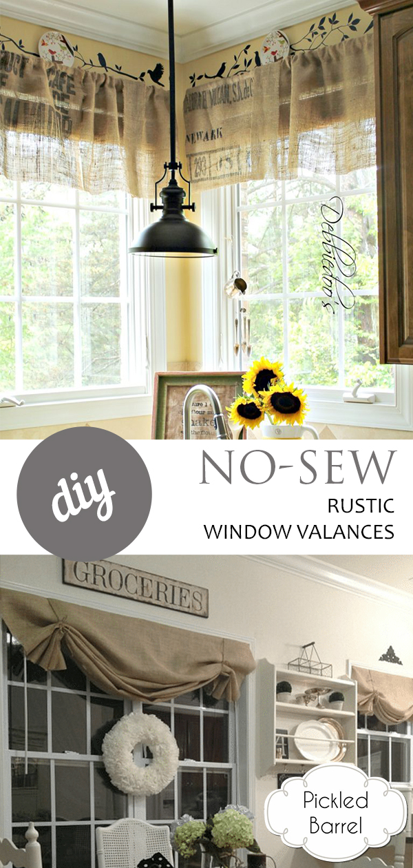 DIY No-Sew Rustic Window Valances, No Sew Projects, No Sew Curtains, Window Valance Ideas, Window Valance DIY