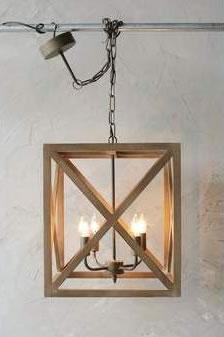 4 Light Rustic Wood Pendant
