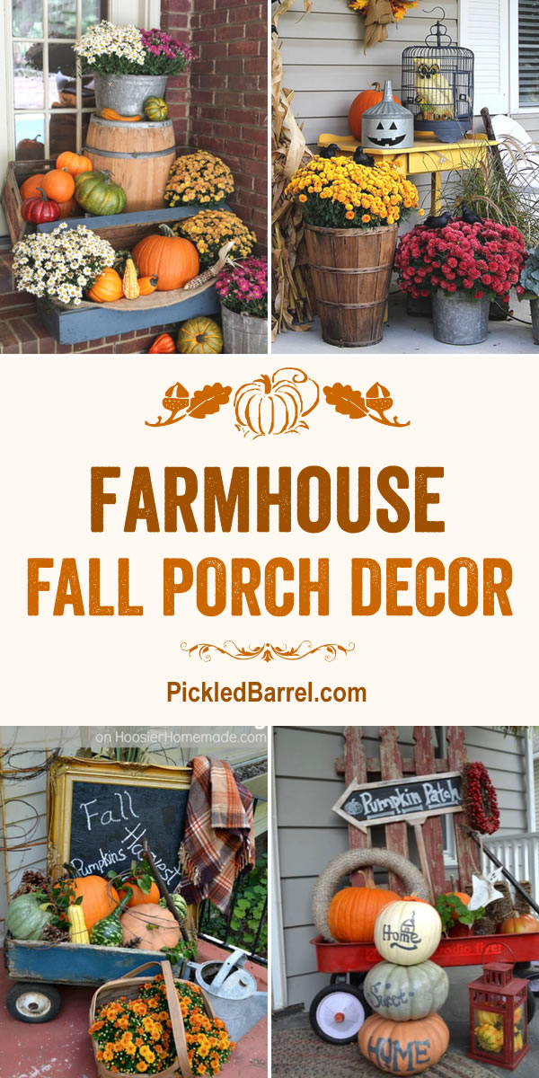Farmhouse Fall Porch Decor - Festive Fall Porch Decor with Repurposed Farmhouse Decor - Pickled Barrel