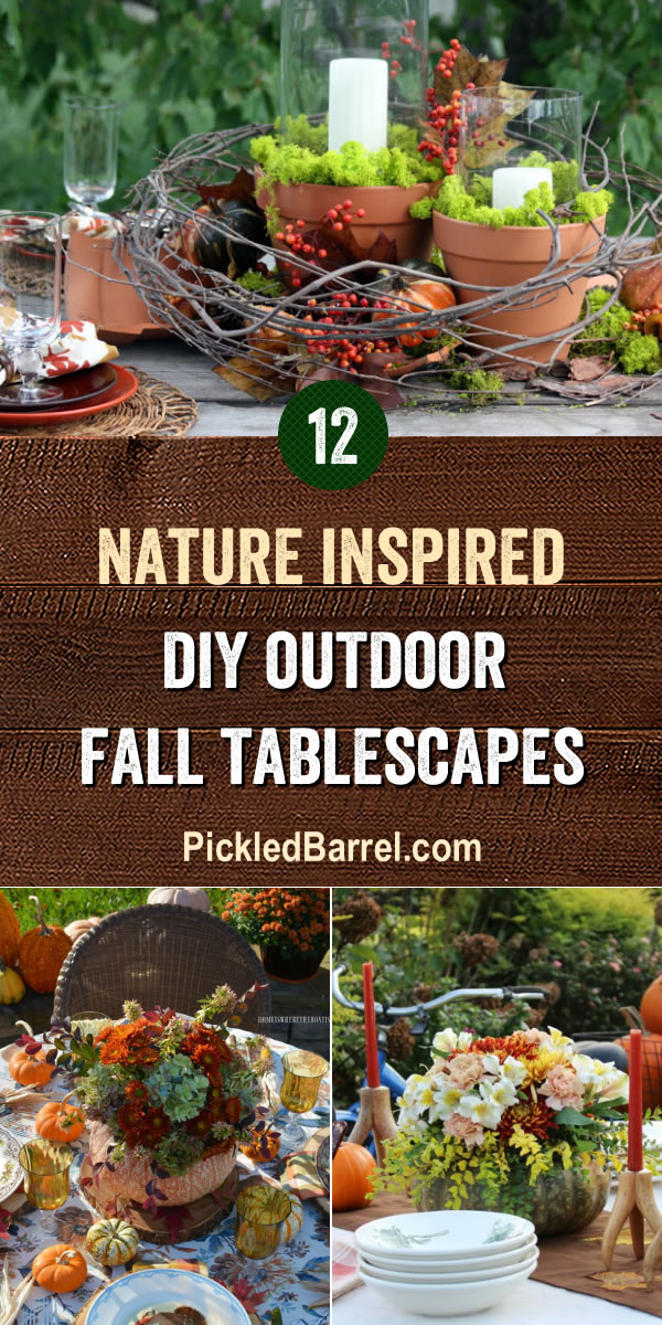 Nature Inspired DIY Outdoor Fall Tablescapes - Beautiful Fall tablescapes that include apples, pumpkins, pumpkin planters, seasonal flowers, and other organic Fall elements.