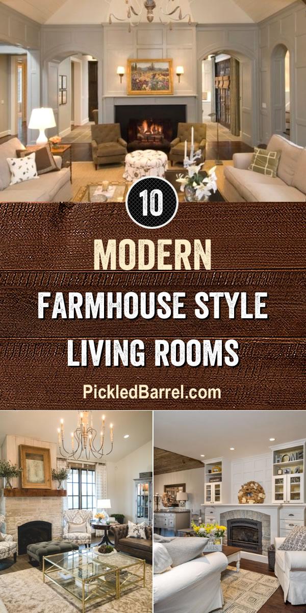 10 Neutral Modern Farmhouse Style Living Rooms - Pickled Barrel #farmhouse
