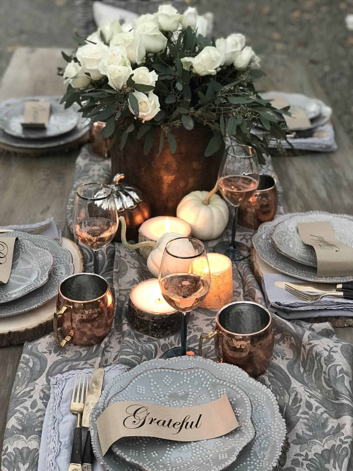 Elegant Outdoor Thanksgiving Tablescape