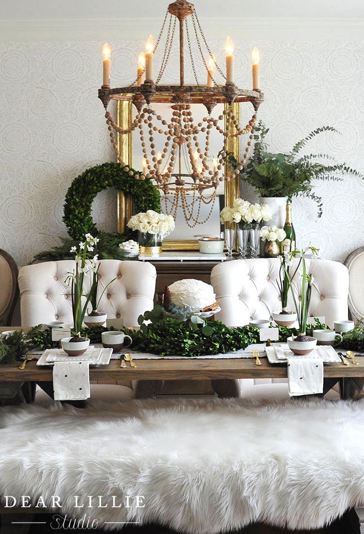 Rustic Glam Christmas Tablescape by Dear Lillie Studio on Pickled Barrel