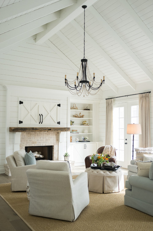White Farmhouse Style Living Room - 10 Modern Farmhouse Style Living Rooms