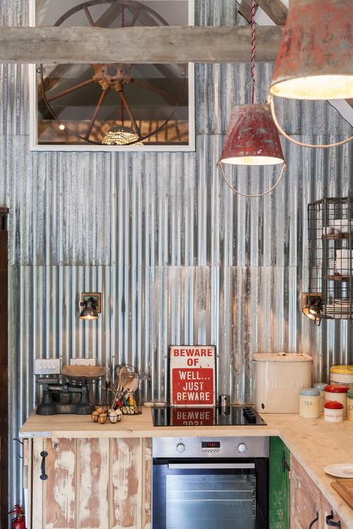 Corrugated Metal Kitchen Wall