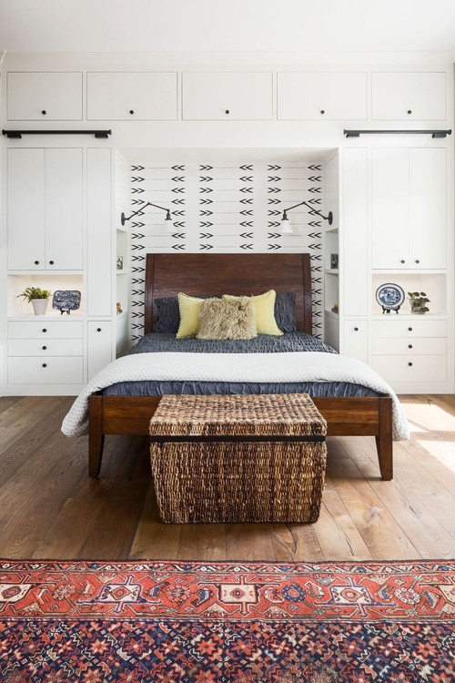 Farmhouse Style Bedroom Decor Ideas: Floor to Ceiling Custom Cabinets