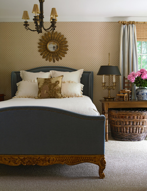 Farmhouse Style Bedroom Decor Ideas: Hand-carved Upholstered Bed