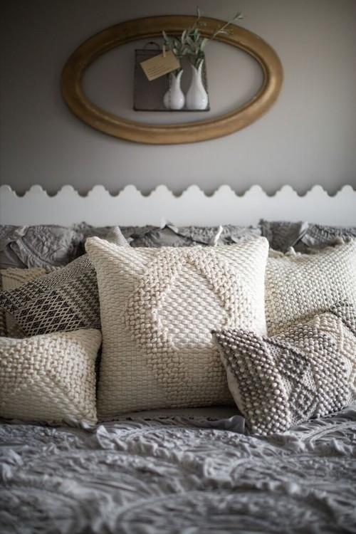Farmhouse Style Bedroom Decor Ideas: Joanna Gaines Rug Textured Pillows