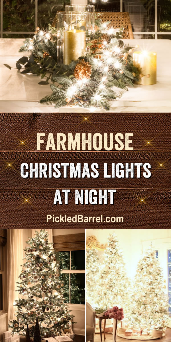 Farmhouse Christmas Lights At Night - PickledBarrel.com