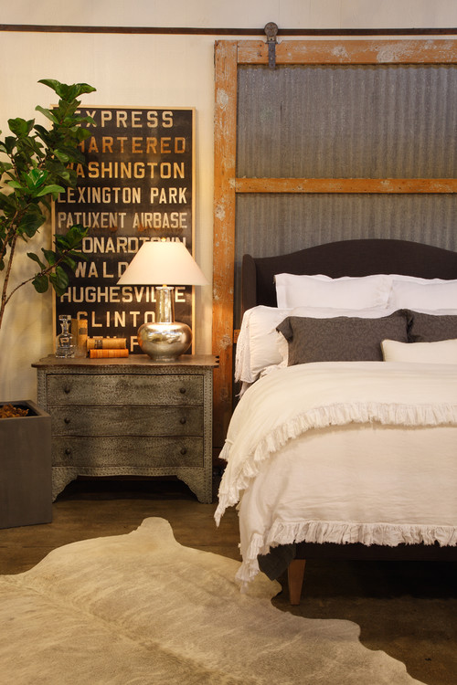 Galvanized Metal and Wood Sliding Barn Door Headboard