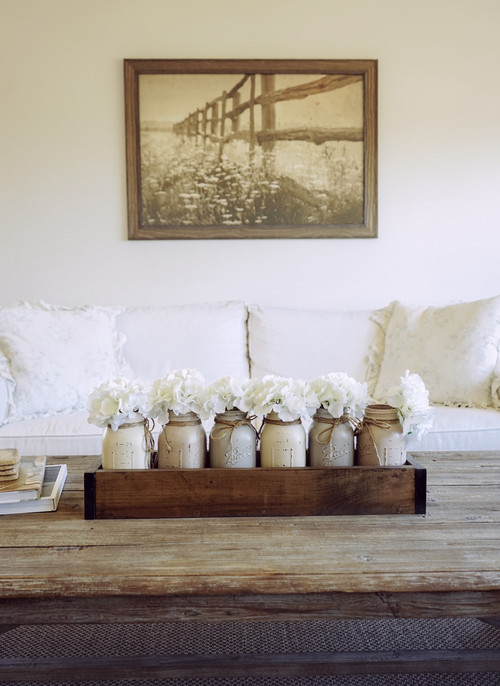Modern Farmhouse Decor with Classic Style: Wood Box with Mason Jars Centerpiece