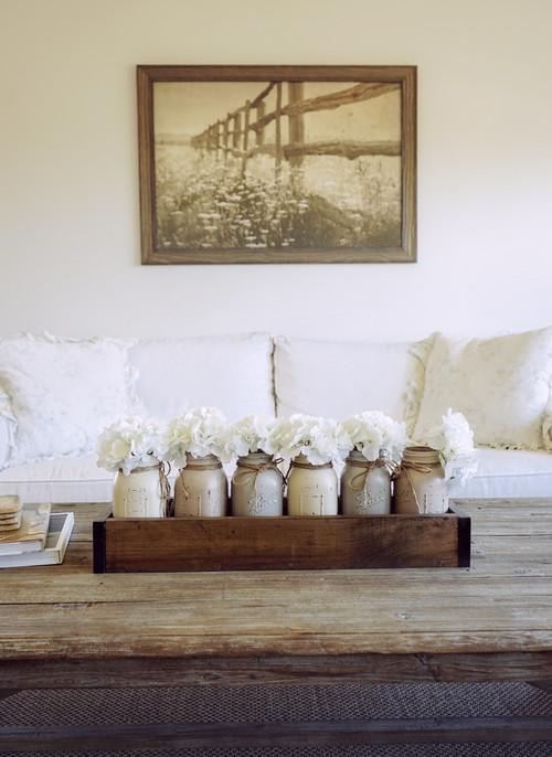 Modern Farmhouse Decor with Classic Style: Wood Box with Mason Jars Centerpiece