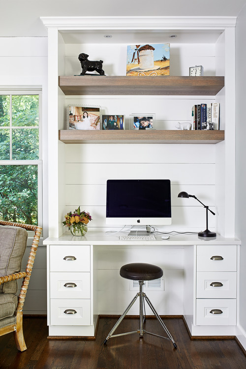 Modern Farmhouse Built-in Desk with Shiplap