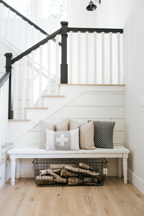 Modern Farmhouse Staircase Entry with Shiplap