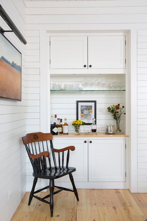 Modern Farmhouse Bar Surrounded with Shiplap