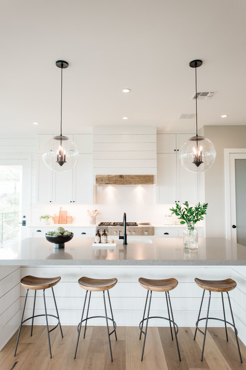 Modern Farmhouse Kitchen Island and Vent Hood with Shiplap
