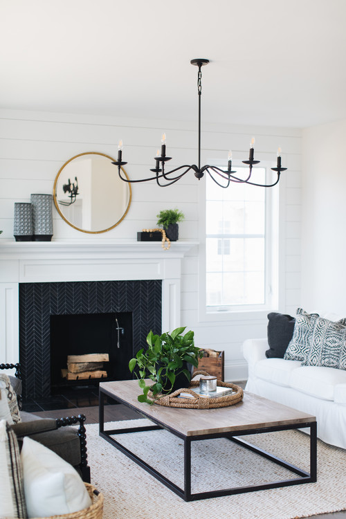 Modern Farmhouse Family Room with Shiplap Feature Wall