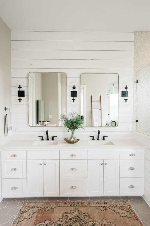 Modern Farmhouse Bathroom with Shiplap Wall and Shower Surround