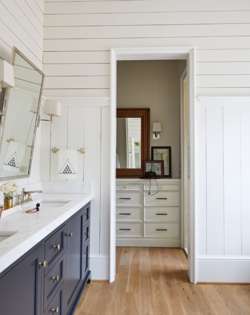 Modern Farmhouse Bathroom with Vertical and Horizontal Shiplap Walls