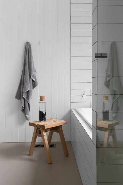 Modern Farmhouse Bathroom with Vertical Shiplap Wall