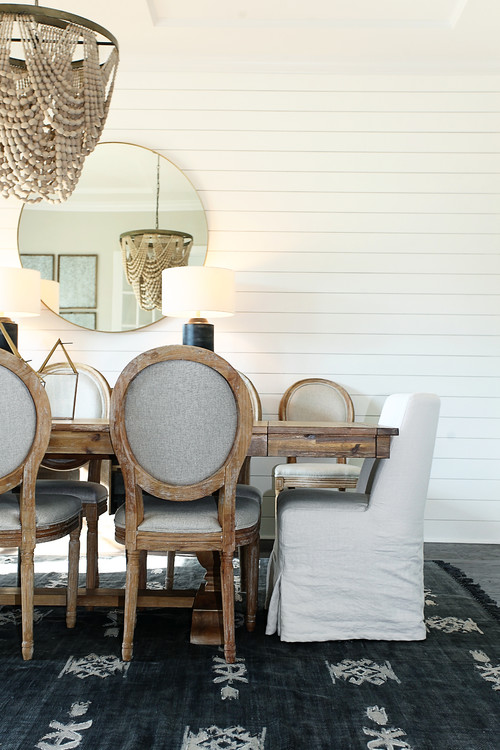 Modern Farmhouse Dining Room with Shiplap Wall