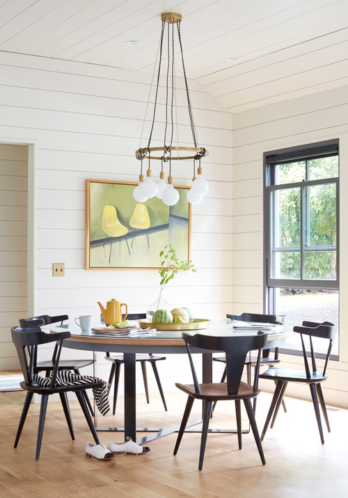 Modern Farmhouse Dining Room with Shiplap Walls and Ceiling