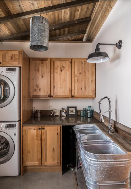 Rustic Galvanized Laundry Room Washtubs