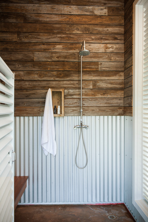 Farmhouse Style Galvanized Metal Decor Ideas: Rustic Bathroom with Corrugated Metal Shower Half Wall