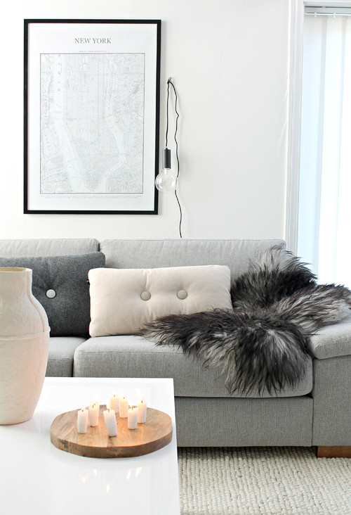 Cozy Scandinavian Living Room with Light Gray Couch and Faux Fur Throw