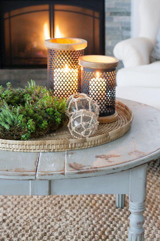 DIY Rustic Winter Coffee Table Decor