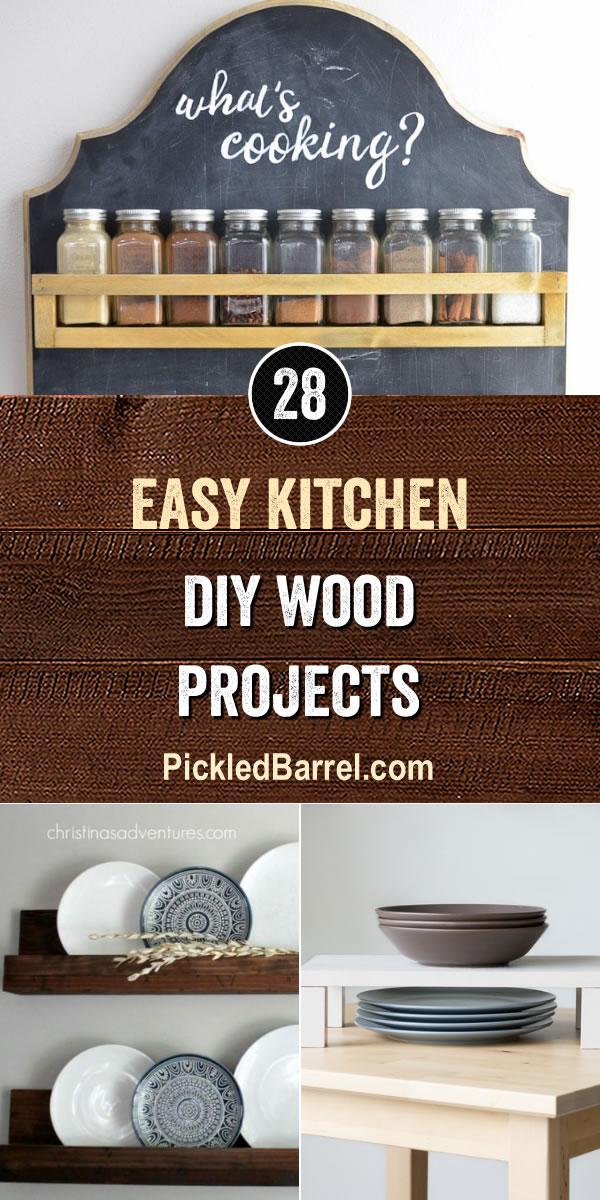 Easy Kitchen DIY Wood Projects - PickledBarrel.com
