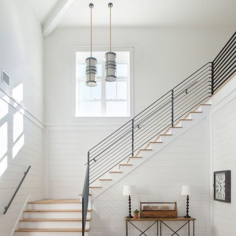 Farmhouse Staircase Surrounded with Shiplap - PickledBarrel.com