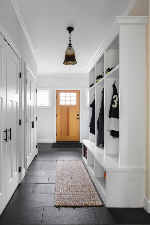 Modern Farmhouse Mudroom Cabinet in a Hallway Entry #modernfarmhouse