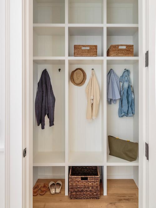 Modern Farmhouse Mudroom Cubbies in a Closet #modernfarmhouse