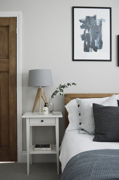Modern Scandinavian Farmhouse Style Bedroom with White, Gray and Black Decor